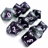 Purple & Steel Gemini D10 Ten Sided Dice Set